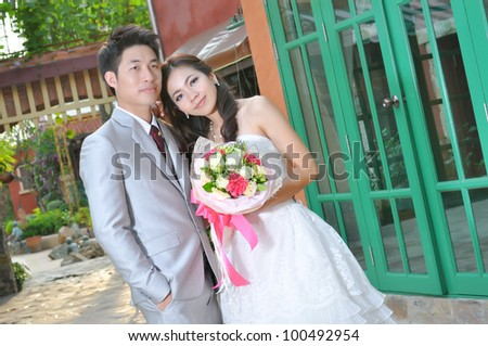 Bride and groom on their wedding day ,asian lover