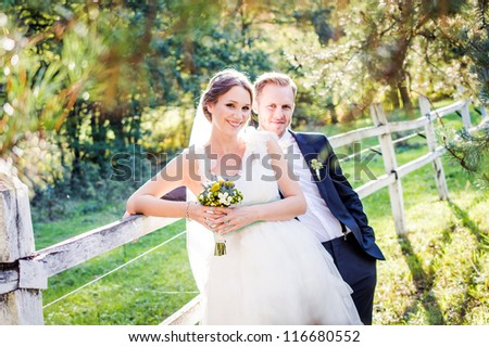 Bride and Groom on wedding day
