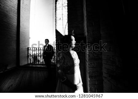 Bride and groom posing  #1281045967