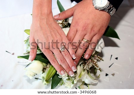 Bride and groom's hands showing wedding rings