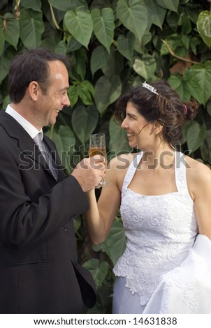 Bride and groom smile at each other as the toast with champagne. Vertically framed photograph.