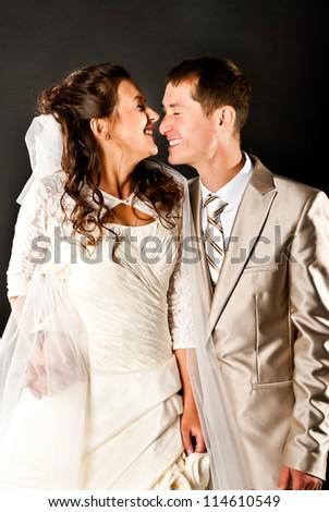 bride and groom studio shot