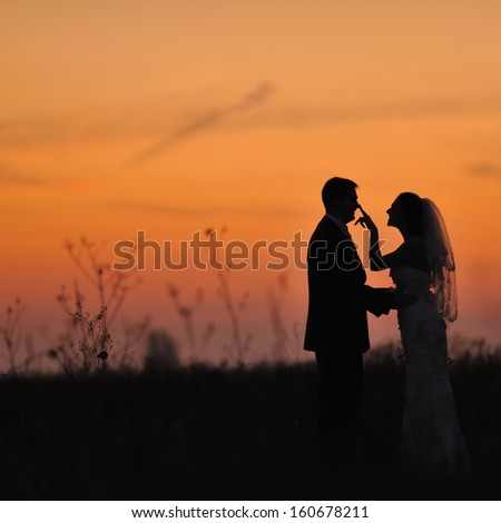 Bride and groom together.  Silhouette of  wedding couple in field.