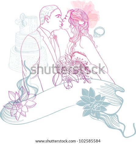 Bride and Groom. Wedding Background with different elements