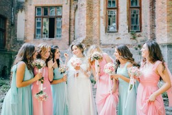 Bride and her bridesmaids in the castle