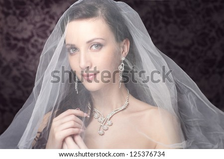 Bride beautiful woman in wedding dress - wedding style