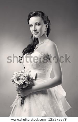 Bride beautiful woman in wedding dress wedding style black and