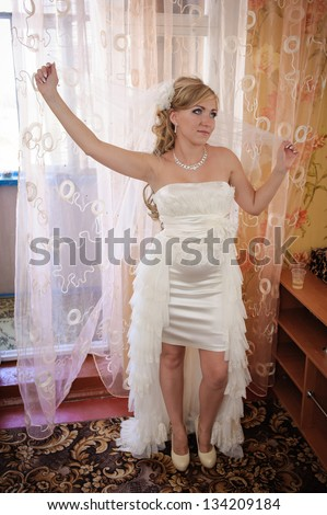 Young beautiful bride preparing suggest you