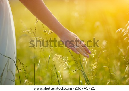 Bride Enjoying Nature. Free Happy Woman. Lit evening sun. Freedom concept.