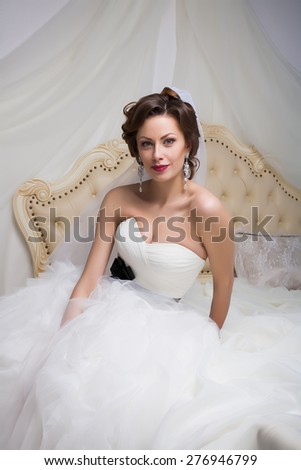 bride girl wedding dress interior studio light