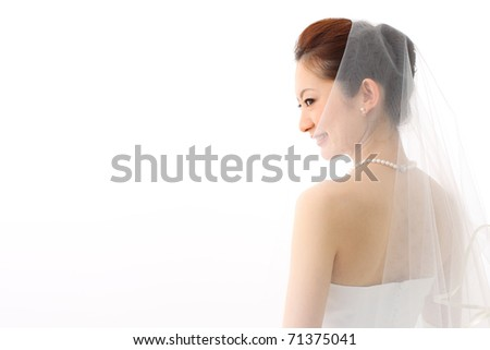Bride in beauty white dress