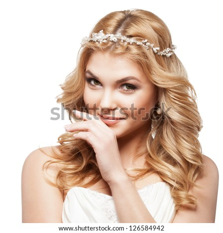 bride in white dress with beauty wedding coiffure
