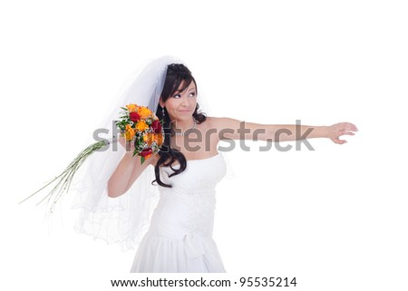 Bride is about to throw her bouquet away