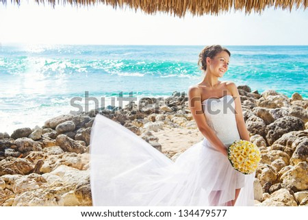 bride on the beach, bali