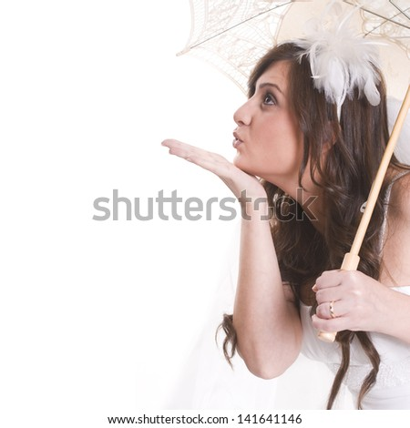 Bride portrait with umbrella