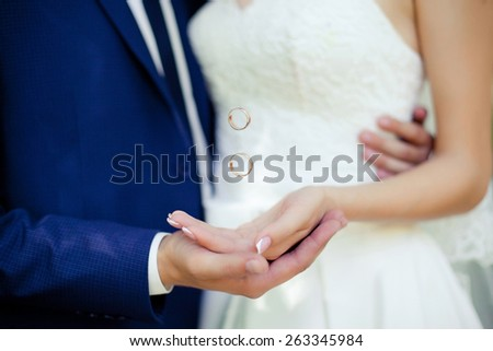 Bride\'s and groom\'s hands with flying rings