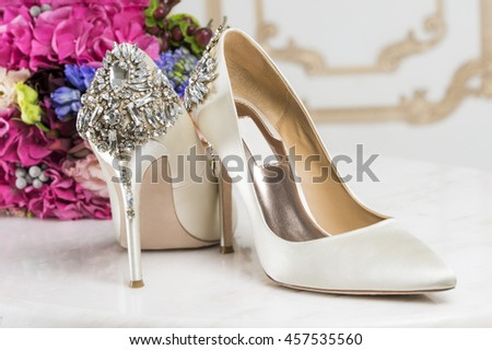 bride's shoes adorned with crystals #457535560