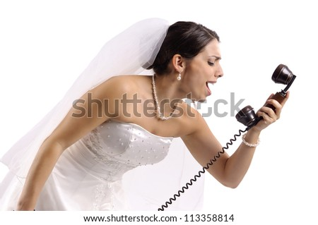 Bride screaming with phone isolated in white