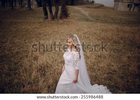 bride walking in golden autumn nature #255986488