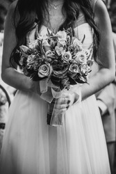 bride wedding blackandwhite dress flowers