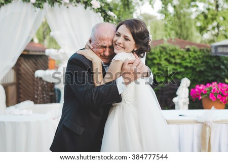 Bride with grandfather. Really emotion