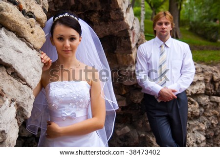 bride with groom about grotto
