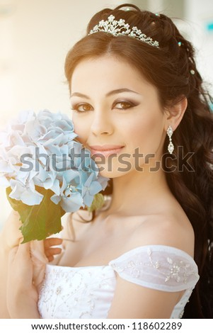 Bride with long hair outdoor