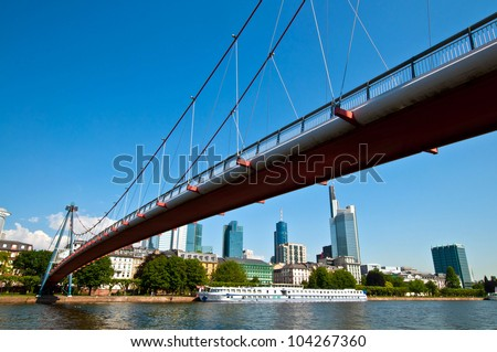 Bridge across the Main in Frankfurt city in Germany