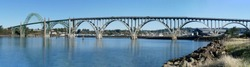 Bridge across Yaquina Bay seen from South jetty,  Newport, Oregon