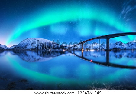 Bridge and aurora borealis over snowy mountains. Lofoten islands, Norway. Amazing northern lights and reflection in water. Winter landscape with starry sky, polar lights, road, sea, city illumination #1254761545