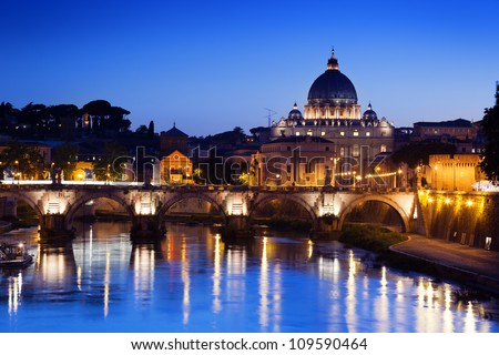 Bridge and Basilica of St. Peter in Rome, Italy