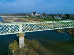 Bridge and castle in Sully-Sur-Loire, Loiret, Centre-Val de Loire, France