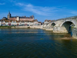 Bridge and castle of Gien, Loiret, Centre-Val de Loire, France