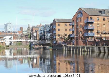 Bridge and modern apartments, Leeds, UK