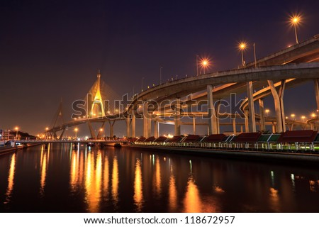Bridge and skyline at night