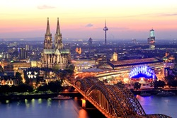 Bridge and the Dom of Cologne at night. Cologne, Germany