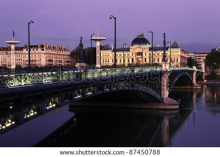 Bridge and University in Lyon by night in autumn