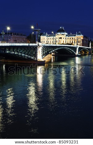 Bridge and University of Lyon by night in summer