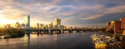 Bridge and yacht boat club in Boston city with morning sunrise, USA