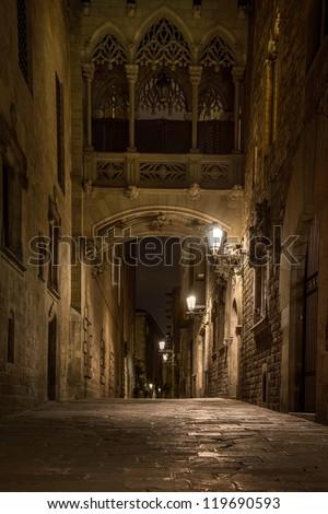 Bridge at Carrer del Bisbe  in Barri Gotic, Barcelona - stock photo