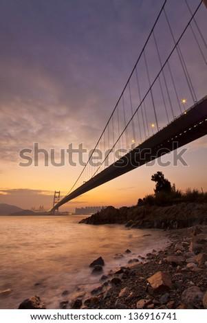 Bridge at sunset along coast #136916741
