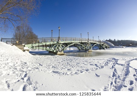 Bridge at the Lower pond in the park Tsaritsyno, Moscow