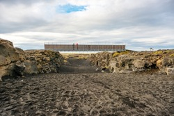 Bridge between Europe and North America continents in Reykjanes, Iceland Tourist attraction