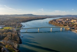 Bridge between Hungary and Slovakia from a drone view