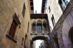 Bridge Between the Buildings in Barri Gotic Quarter of Barcelona, Spain