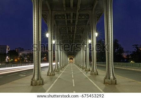 bridge Bir-Hakeim in Paris at night