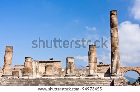 Bridge columns and blue sky in Pompeii