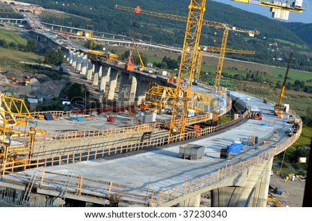 Bridge construction site stock photo