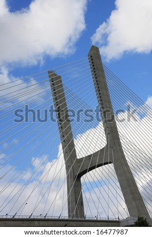 Bridge detail with a cloudy sky