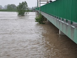 bridge drowned by the floods